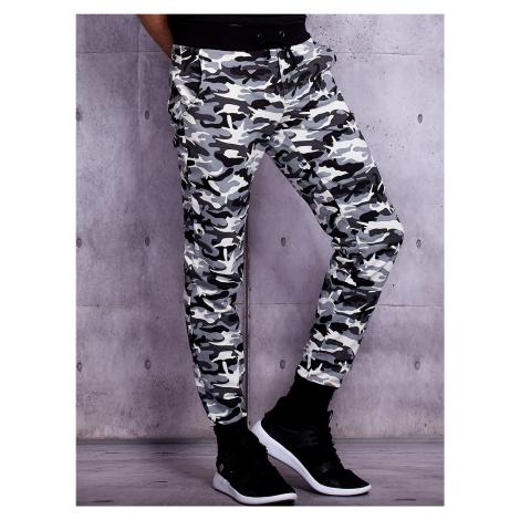Pánské bílé běžecké kalhoty s vojenským vzorem