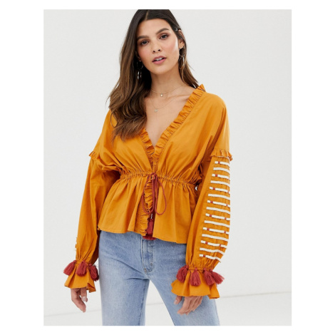 Y.A.S festival embroidered volume sleeve top-Brown