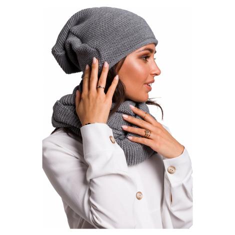 Dámský teplý set - komplet čepice pletená + kruhová šála