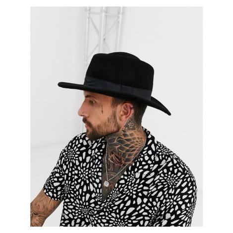 ASOS DESIGN wide brim pork pie hat in black with band