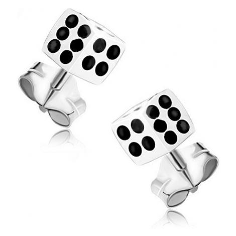 Stříbrné 925 náušnice, bílá hrací kostka s černými tečkami Šperky eshop