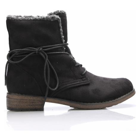 Černé šněrovací boty s kožíškem Claudia Ghizzani