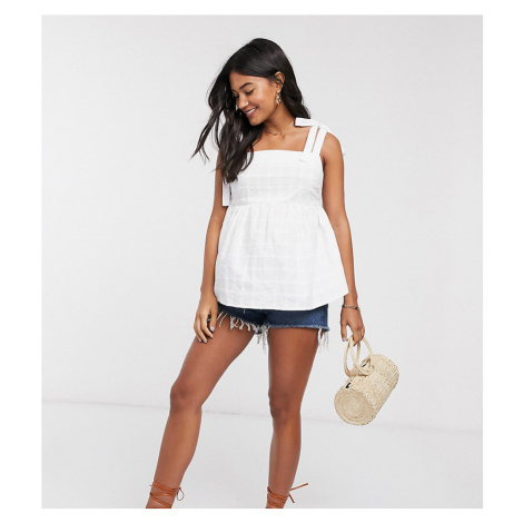 ASOS DESIGN Maternity square neck sun top with tie straps in textured grid in white