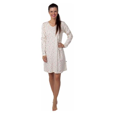Dámská noční košile - CALVI 20-348, béžová/ růžový vzorek