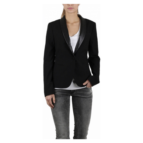 Černé sako s koženým límcem - REPLAY