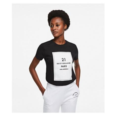 Tričko Karl Lagerfeld Square Address Logo T-Shirt - Černá