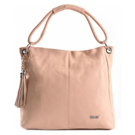 BRIGHT Dámská kožená kabelka A4 Růžová, 40 x 14 x 34 (BR19-CAJ4048-20DOL)