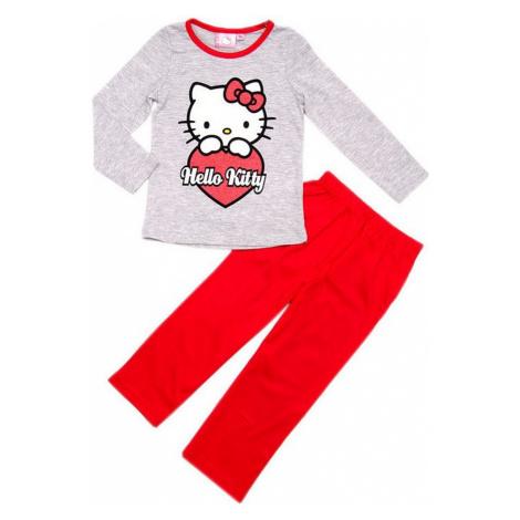 šedo-červené dívčí pyžamo hello kitty