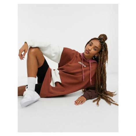 Adidas Originals 'Cosy Comfort' fleece oversized hoodie dress in colour block-Brown