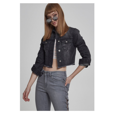 Ladies Short Denim Jacket - black washed