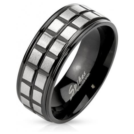 Černý ocelový prsten, dvě linie z matných stříbrných čtverců Šperky eshop