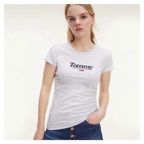 Tommy Jeans dámské světle šedé tričko Essential Tommy Hilfiger