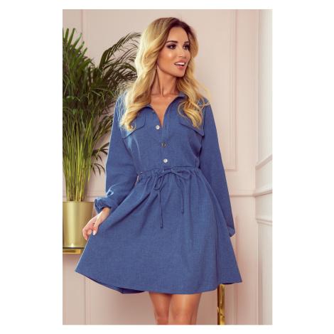 CLARA - Světle modré dámské košilové šaty s knoflíky a dlouhými rukávy 298-2 NUMOCO