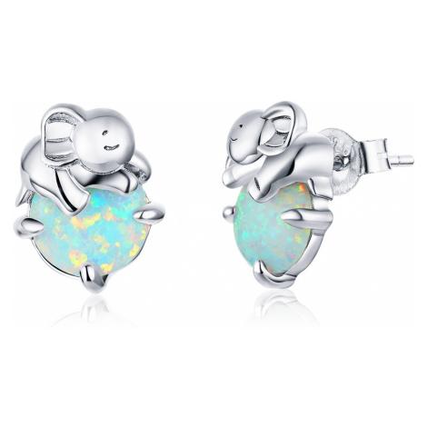 Linda's Jewelry Stříbrné náušnice Opálový Slon Ag 925/1000 IN225