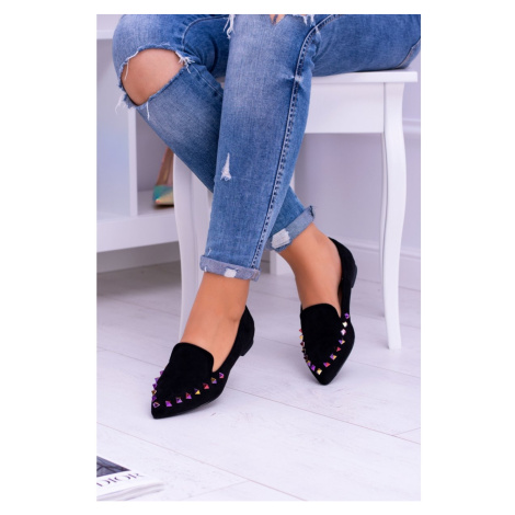 Lu Boo Black Loafers of Iridescent Spikes Suede Spike Kesi