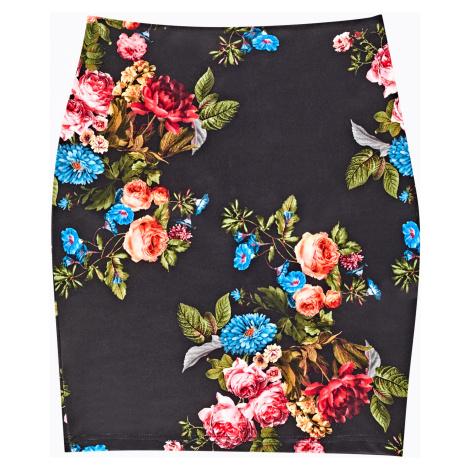 GATE Pouzdrová sukně s květinovým potiskem