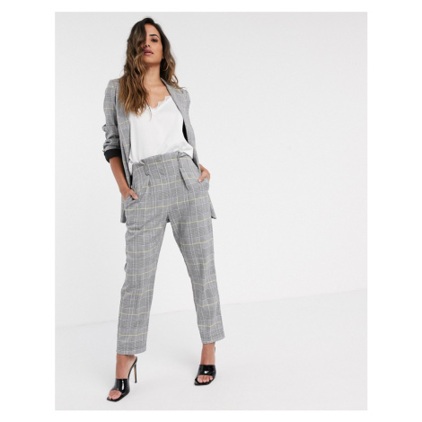Closet London tailored trouser in light check-Grey