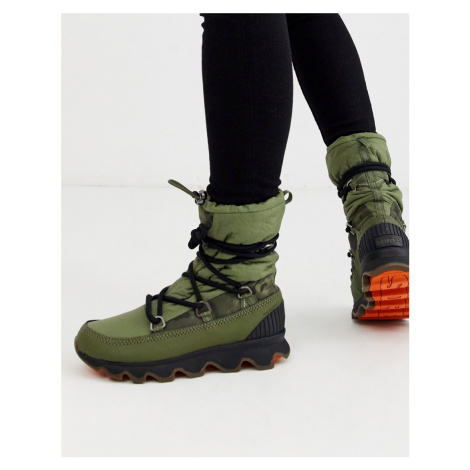 Sorel waterproof kinetic lace up boot in green