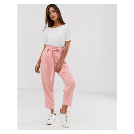 ASOS DESIGN tailored tie waist tapered ankle grazer trousers-Pink