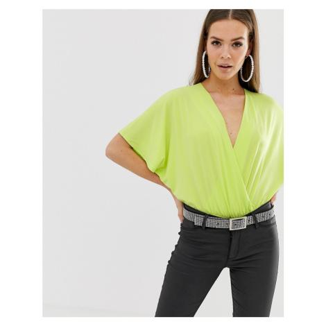 ASOS DESIGN angel sleeve wrap body in neon green
