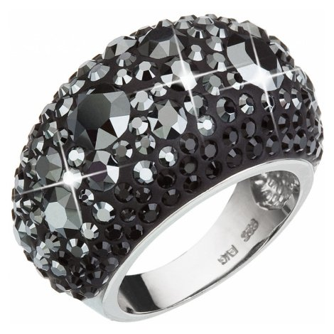 Stříbrný prsten s krystaly Swarovski černý 35028.5