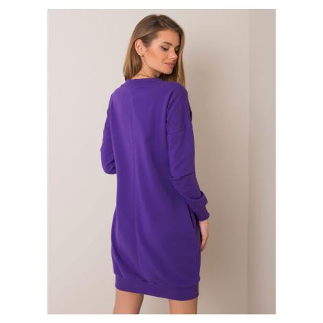 RUE PARIS Dark purple sweatshirt dress with drawstrings