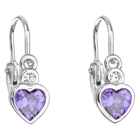 Evolution Group Stříbrné dětské náušnice visací se zirkonem fialové srdce 11178.3