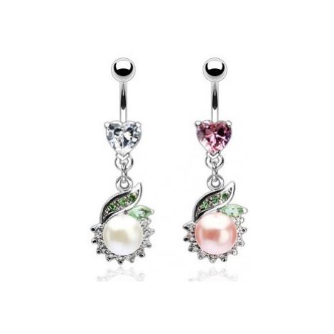 Luxusní piercing do břicha perla se zeleným lístkem - Barva zirkonu: Růžová - P Šperky eshop
