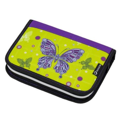 Dívčí školní penál s motivem motýla BAGMASTER CASE ALFA 8 A GREEN/VIOLET/PINK