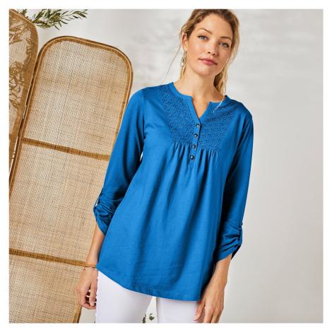 Blancheporte Tričko s knoflíky a dlouhými rukávy modrá