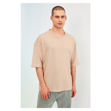 Trendyol Beige Men Oversize Fit Bike Collar Short Sleeve Printed T-Shirt