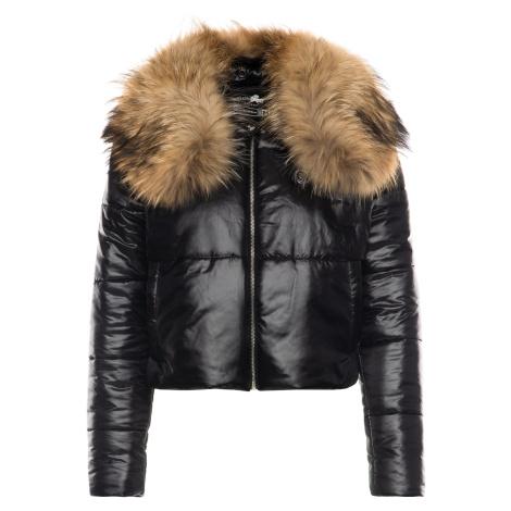 Černá zimní bunda s pravou kožešinou PHILIPP PLEIN