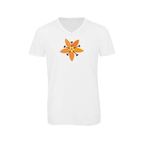 Pánské triko s výstřihem do V Květina