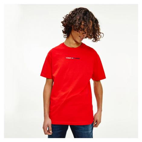 Tommy Jeans pánské červené triko Tommy Hilfiger