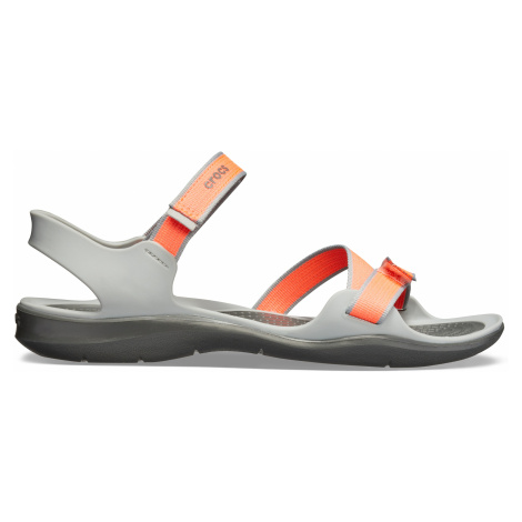 Crocs Swiftwater Webbing Sandal W Bright Coral/Light Grey W5