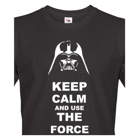 Pánské tričko Keep calm and use the force - triko s potiskem Star Wars BezvaTriko