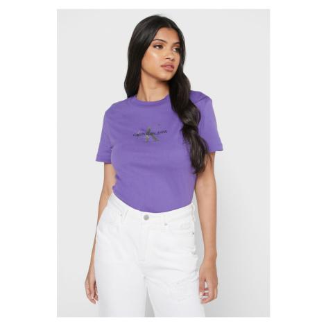 Calvin Klein Calvin Klein dámské fialové triko SLIM GLITTER LOGO T-SHIRT