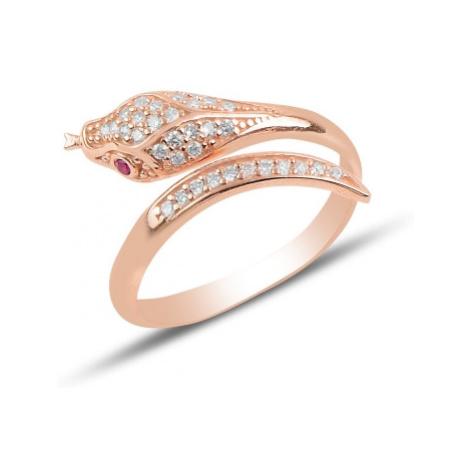 OLIVIE Stříbrný prsten RŮŽOVÝ HAD 4366