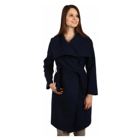 Dámský kabát s páskem a výrazným límcem