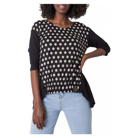 černé dámské tričko s bílými puntíky