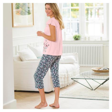 Blancheporte 3/4 pyžamové kalhoty s potiskem květin bronzová