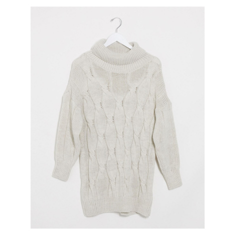 I Saw It First chunky roll neck cable knit jumper dress in cream