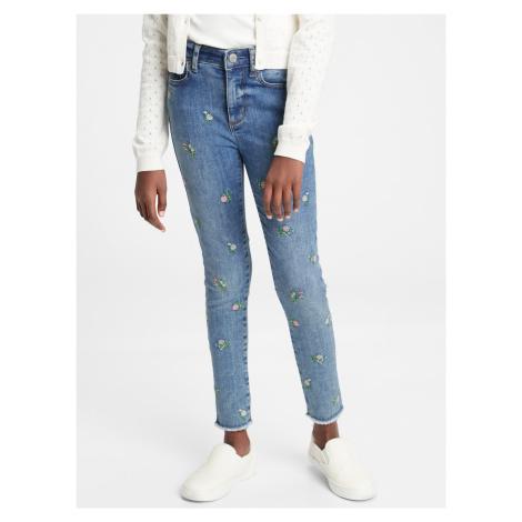 GAP modré dívčí džíny s výšivkami