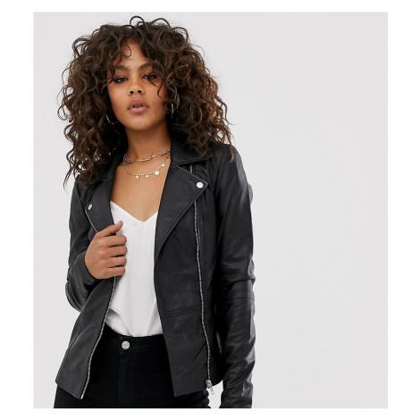 Y.A.S Tall leather biker jacket-Black