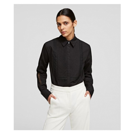 Košile Karl Lagerfeld Shirt W/ Embroidered Logo Tape - Černá