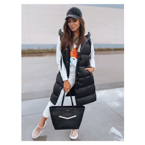 Černá dámská dlouhá prošívaná vesta TY2130 BASIC