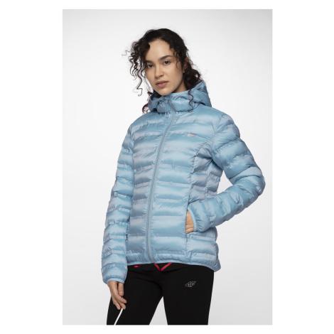 4F Dámská péřová bunda KUD002 - světle modrý melír