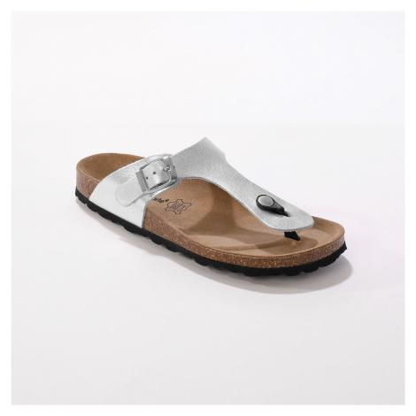 Blancheporte Žabkové kožené sandály se sponou, stříbrné stříbrná