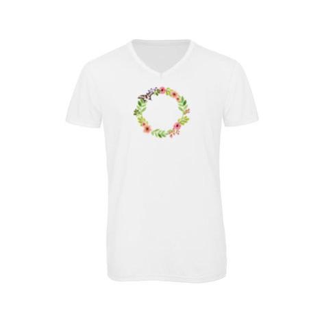 Pánské triko s výstřihem do V Květinový rámeček