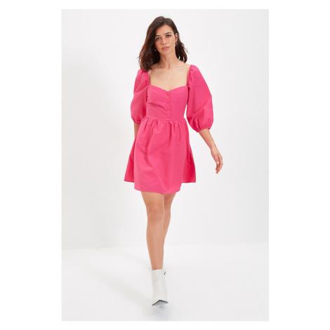 Trendyol Fuchsia Balloon Sleeve Heart Collar Dress